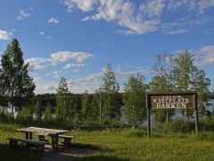 En av de vackraste rastplatserna i Sverige vid sjön Barken i Dalarna.