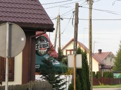 """Vit stork Ciconia ciconia som häckar utanför en krog i  Bialowieza, Polen.  Sentens: """"Om man inte tänker sig för efter krogbesök är inte storken långt borta!"""""""